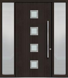 Custom Pivot Front  Door Example, Mahogany Wood Veneer-Espresso DB-PVT-H4 2SL18 48x96