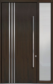 Custom Pivot Front  Door Example, Mahogany Wood Veneer-Walnut DB-PVT-L1 1SL18 48x108