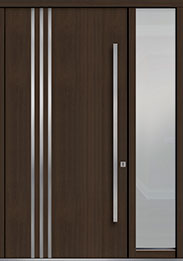 Custom Pivot Front  Door Example, Mahogany-Wood-Veneer-Walnut DB-PVT-L1 1SL18 48x96