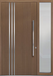 Custom Pivot Front  Door Example, Oak Wood Veneer-Light-Loft DB-PVT-L1 1SL18 48x96
