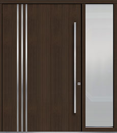 Custom Pivot Front  Door Example, Mahogany Wood Veneer-Walnut DB-PVT-L1 1SL24  60x96