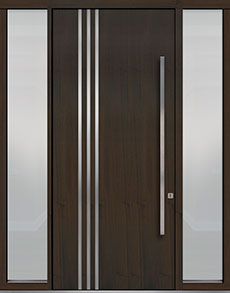 Custom Pivot Front  Door Example, Mahogany Wood Veneer-Walnut DB-PVT-L1 2SL18 48x108