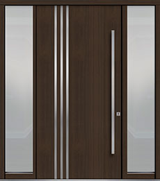 Custom Pivot Front  Door Example, Mahogany Wood Veneer-Walnut DB-PVT-L1 2SL18 48x96