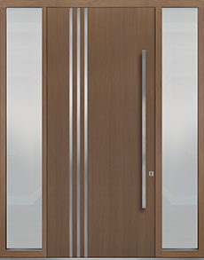 Custom Pivot Front  Door Example, Oak Wood Veneer-Light-Loft DB-PVT-L1 2SL18 48x108