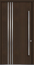 Custom Pivot Front  Door Example, Mahogany Wood Veneer-Walnut DB-PVT-L1 48x96