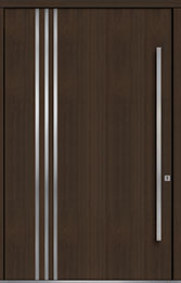 Custom Pivot Front  Door Example, Mahogany Wood Veneer-Walnut DB-PVT-L1 60x96