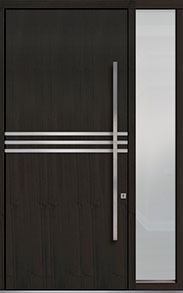 Custom Pivot Front  Door Example, Mahogany Wood Veneer-Espresso DB-PVT-L2 1SL18 48x108