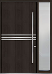Custom Pivot Front  Door Example, Mahogany Wood Veneer-Espresso DB-PVT-L2 1SL18 48x96