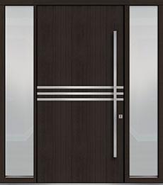 Custom Pivot Front  Door Example, Mahogany Wood Veneer-Espresso DB-PVT-L2 2SL18 48x96