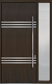 Custom Pivot Front  Door Example, Mahogany Wood Veneer-Walnut DB-PVT-L3 1SL18 48x108