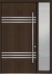 Custom Pivot Front  Door Example, Mahogany Wood Veneer-Walnut DB-PVT-L3 1SL18 48x96