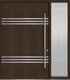 Custom Pivot Front  Door Example, Mahogany Wood Veneer-Walnut DB-PVT-L3 1SL24  60x96