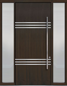 Custom Pivot Front  Door Example, Mahogany Wood Veneer-Walnut DB-PVT-L3 2SL18 48x108