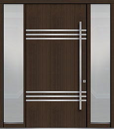 Custom Pivot Front  Door Example, Mahogany Wood Veneer-Walnut DB-PVT-L3 2SL18 48x96