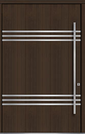 Custom Pivot Front  Door Example, Mahogany Wood Veneer-Walnut DB-PVT-L3 60x96