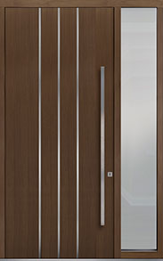 Custom Pivot Front  Door Example, Oak Wood Veneer-Earth DB-PVT-L6 1SL18 48x108