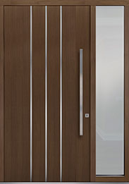 Custom Pivot Front  Door Example, Oak Wood Veneer-Earth DB-PVT-L6 1SL18 48x96