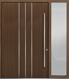 Custom Pivot Front  Door Example, Oak Wood Veneer-Earth DB-PVT-L6 1SL24  60x96