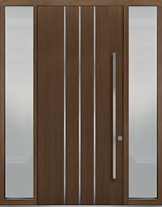 Custom Pivot Front  Door Example, Oak Wood Veneer-Earth DB-PVT-L6 2SL18 48x108