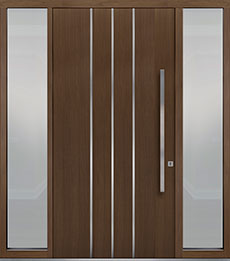 Custom Pivot Front  Door Example, Oak Wood Veneer-Earth DB-PVT-L6 2SL18 48x96