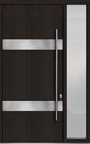 Custom Pivot Front  Door Example, Mahogany Wood Veneer-Espresso DB-PVT-M1 1SL18 48x108