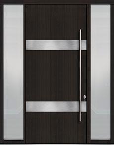 Custom Pivot Front  Door Example, Mahogany Wood Veneer-Espresso DB-PVT-M1 2SL18 48x108