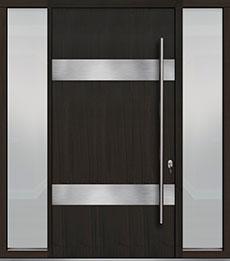 Custom Pivot Front  Door Example, Mahogany-Wood-Veneer-Espresso DB-PVT-M1 2SL18 48x96