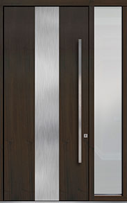 Custom Pivot Front  Door Example, Mahogany Wood Veneer-Walnut DB-PVT-M2 1SL18 48x108