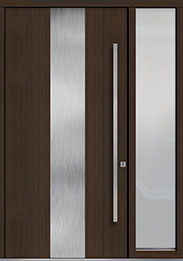 Custom Pivot Front  Door Example, Mahogany Wood Veneer-Walnut DB-PVT-M2 1SL18 48x96