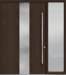 Custom Pivot Front  Door Example, Mahogany Wood Veneer-Walnut DB-PVT-M2 1SL24  60x96