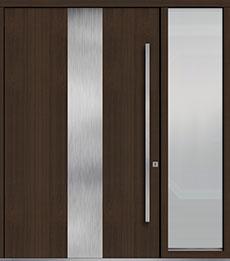 Custom Pivot Front  Door Example, Mahogany-Wood-Veneer-Walnut DB-PVT-M2 1SL24  60x96