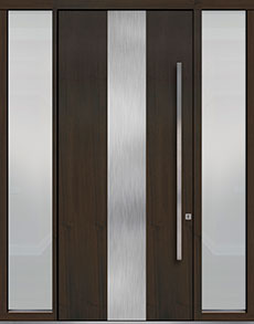 Custom Pivot Front  Door Example, Mahogany Wood Veneer-Walnut DB-PVT-M2 2SL18 48x108