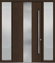 Custom Pivot Front  Door Example, Mahogany Wood Veneer-Walnut DB-PVT-M2 2SL18 48x96