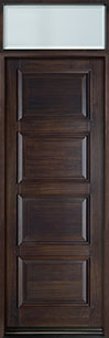 DB-4000PT TR-EN1 Mahogany-Walnut  Wood Entry Door - Single