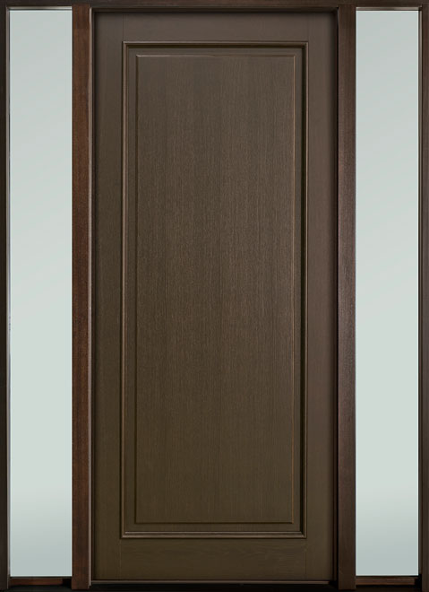 Classic Series Mahogany Wood Entry Door - Single with 2 Sidelites - DB-001PW 2SL-F