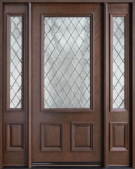 Classic Mahogany Wood Front Door - Single with 2 Sidelites - DB-002DG 2SL CST