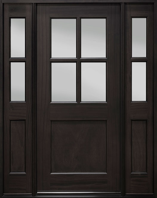 Classic Series Mahogany Wood Entry Door - Single with 2 Sidelites - DB-004 2SL
