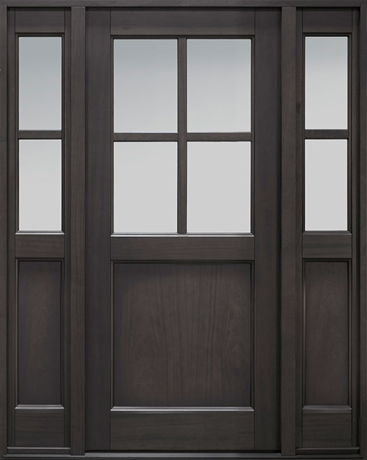 Classic Series Mahogany Wood Entry Door - Single with 2 Sidelites - DB-004PS 2SL