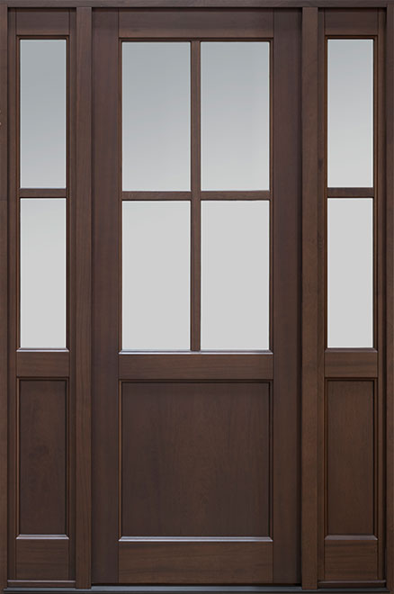 Classic Series Mahogany Wood Entry Door - Single with 2 Sidelites - DB-004PT 2SL