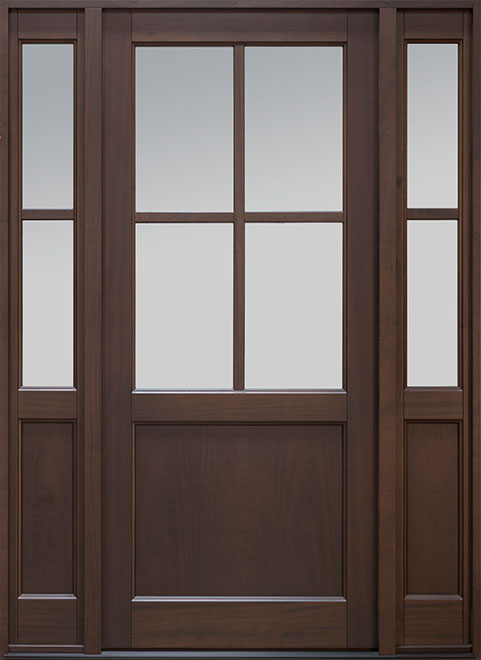 Classic Mahogany Wood Entry Door - Single with 2 Sidelites - DB-004PW 2SL