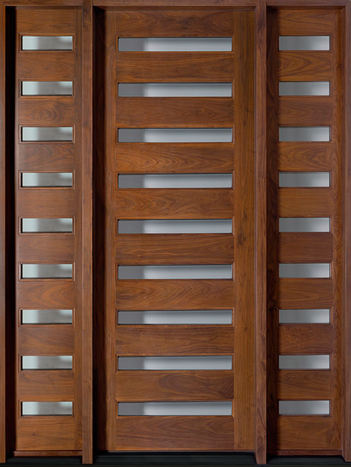 Contemporary American Walnut Wood Entry Door - Single with 2 Sidelites - DB-004T 2SL