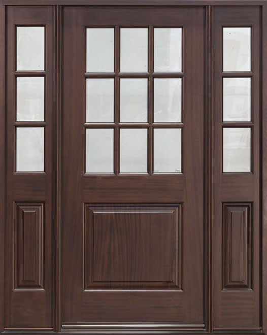 Classic Series Mahogany Wood Entry Door - Single with 2 Sidelites - DB-009 2SL