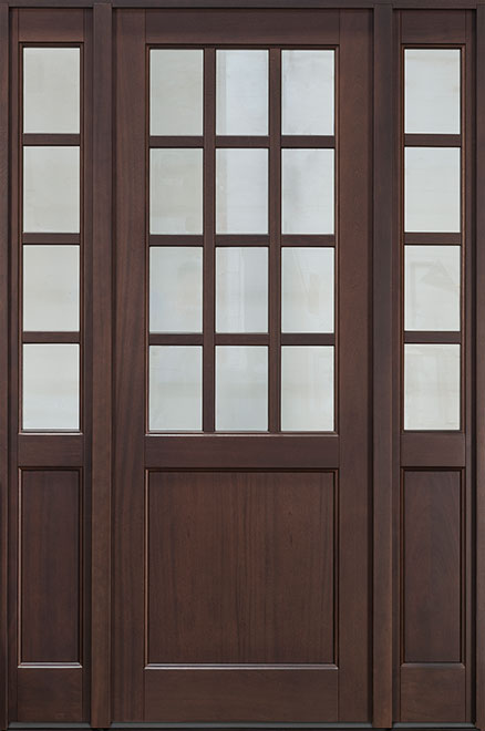 Classic Series Mahogany Wood Entry Door - Single with 2 Sidelites - DB-012PT 2SL