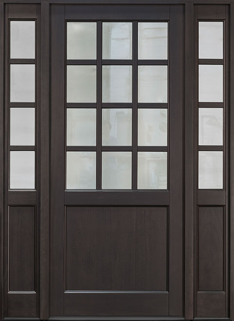 Classic Series Mahogany Wood Entry Door - Single with 2 Sidelites - DB-012PW 2SL