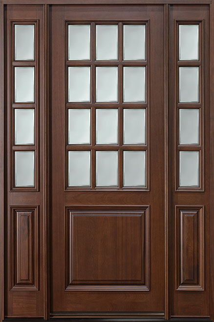 Classic Series Mahogany Wood Entry Door - Single with 2 Sidelites - DB-012T 2SL