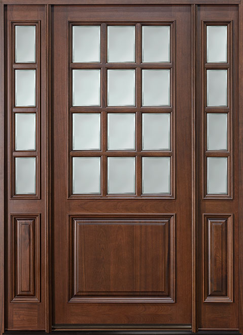 Classic Series Mahogany Wood Entry Door - Single with 2 Sidelites - DB-012W 2SL