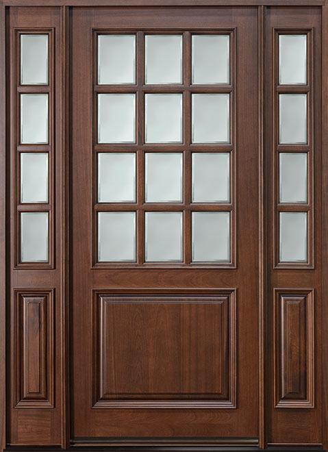 Classic Series Mahogany Wood Entry Door - Single with 2 Sidelites - DB-012W 2SL
