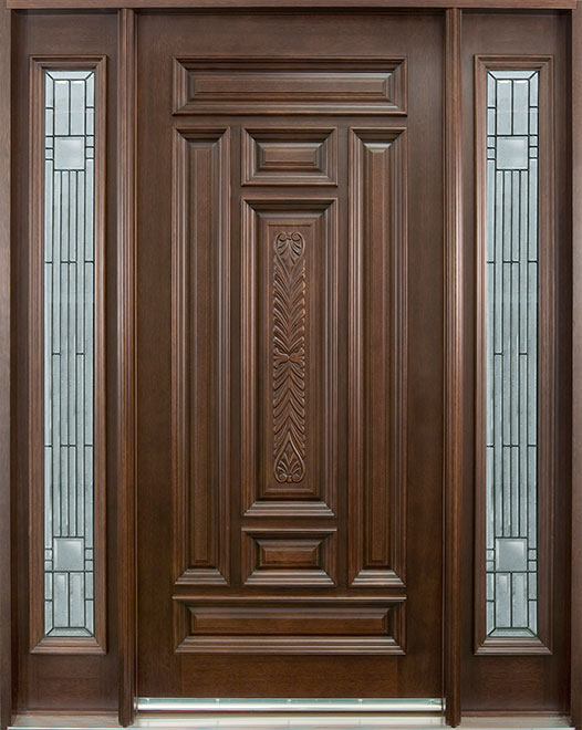 Classic Series Mahogany Wood Entry Door - Single with 2 Sidelites - DB-095 2SL