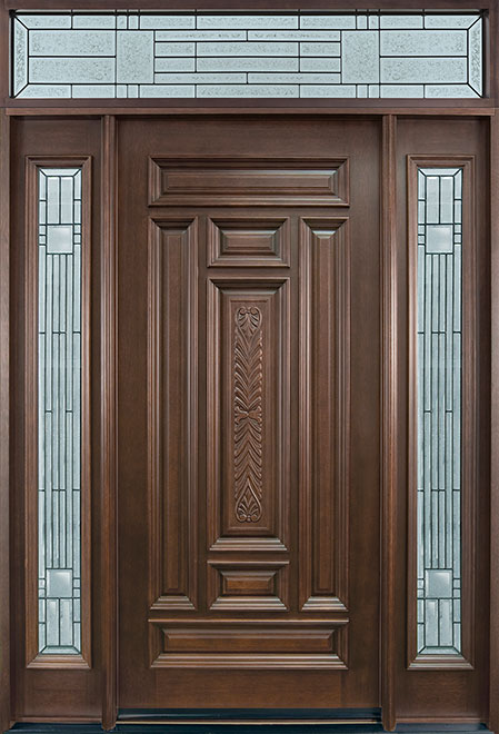 Classic Series Mahogany Wood Entry Door - Single with 2 Sidelites - DB-095 2SL TR