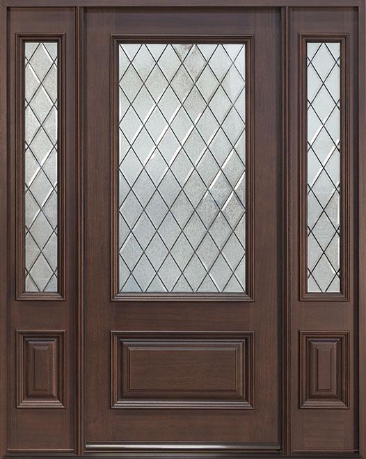 Classic Series Mahogany Wood Entry Door - Single with 2 Sidelites - DB-101DG 2SL